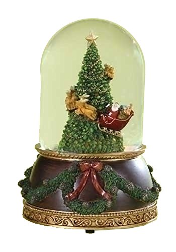 Santa in Sleigh with Reindeer Flying Around Christmas Tree Musical Snow Globe Glitterdome – 8″ Tall 120MM – Plays Tune Santa Claus is Coming to Town