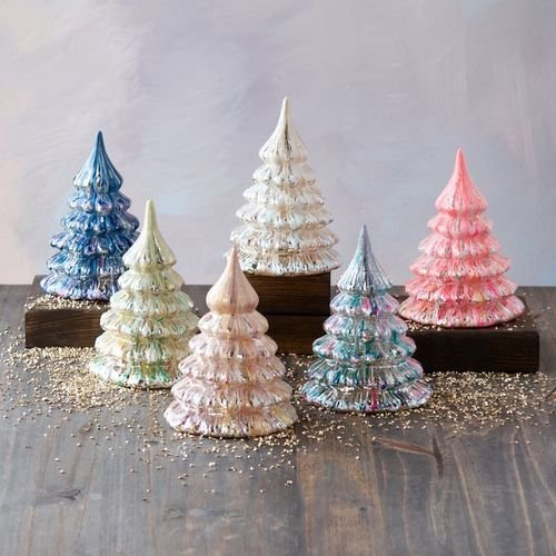Glitterville Studios Set of 6 Colorful Glass Marbled 6″H Trees