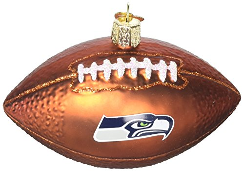 Old World Christmas Seattle Seahawks Football Glass Blow Christmas Ornament