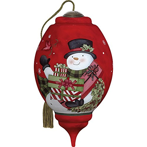 Precious Moments, Ne'Qwa Art 7171154 Hand Painted Blown Glass Standard Trillion Shaped Your Friendship Is A Gift Snowman Ornament, 5.5-inches