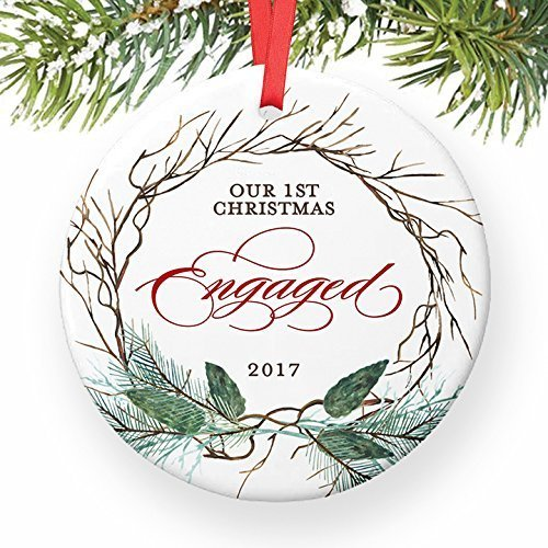 Rustic Engagement Ornament, 2017 Christmas Ornament for Engaged Couple, First Xmas Ornaments for Soon to Be Mr & Mrs Ceramic Present Keepsake 3″ Flat Circle Porcelain with Red Ribbon & Free Gift Box