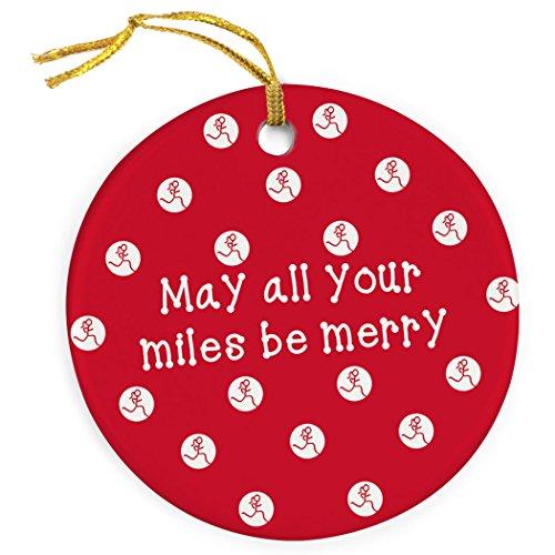 May All Your Miles Be Merry Ornament | Running Porcelain Ornaments by Gone For a Run | Red