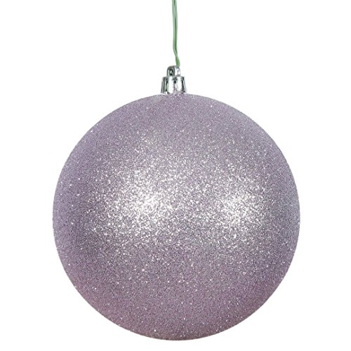 Vickerman N591536DG Glitter Ball Ornaments with Shatterproof UV Resistant, Pre-drilled cap Secured & green floral Wire in 4 per bag, 6″, Lavender