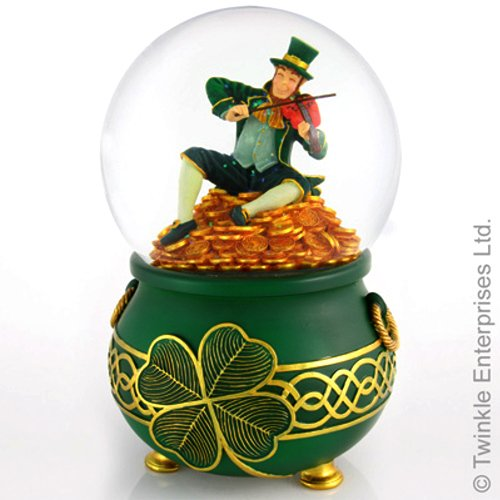 "Leprechaun Rainbows End , A Pot of Gold. Snow Water globe. Rotates and Blows Glitter when it plays ""When Irish Eyes are Smiling"", 120mm, 7″ High"
