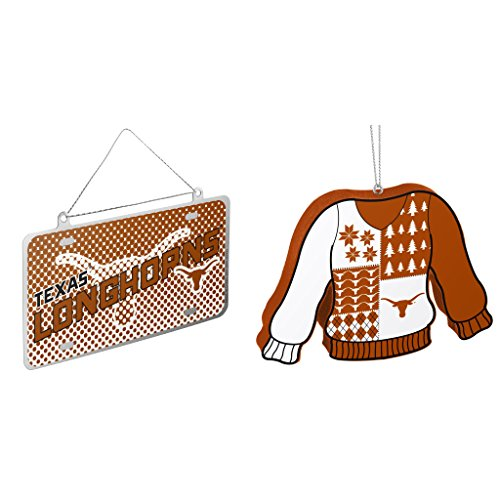 NCAA Texas Longhorns Metal License Plate Christmas Ornament Foam Ugly Sweater Bundle 2 Pack By Forever Collectibles