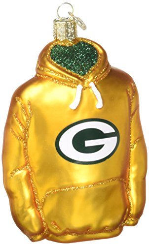 Old World Christmas Green Bay Packers Hoodie Glass Blown Ornament