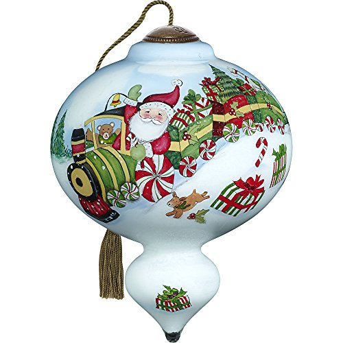 Precious Moments, Ne'Qwa Art 7171133 Hand Painted Blown Glass Standard Marquis Shaped Santa's Peppermint Express Train Ride Ornament, 5.5-inches