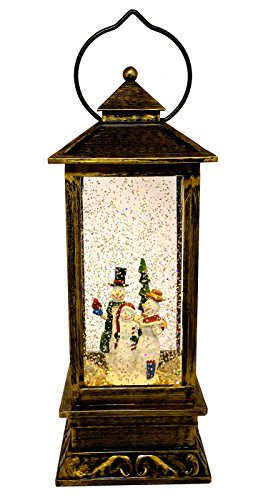 LED Christmas Gift Copper Antique Style Lantern: Light-Up Swirl Dome Snow Globe With Liquid Glitter (Snowman Family)