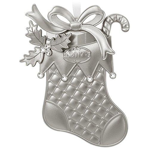 Hallmark Keepsake 2017 Silver Christmas Stocking Metal Dated Christmas Ornament