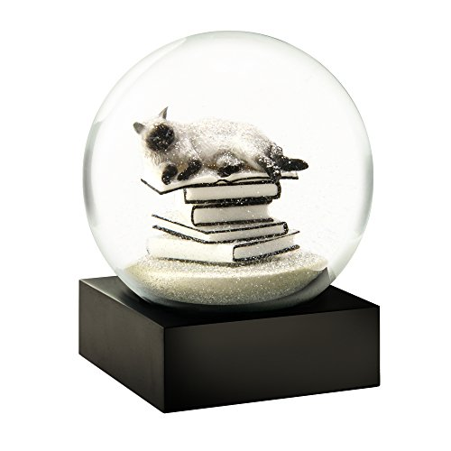 Cat on Books White Cool Snow Globe by CoolSnowGlobes