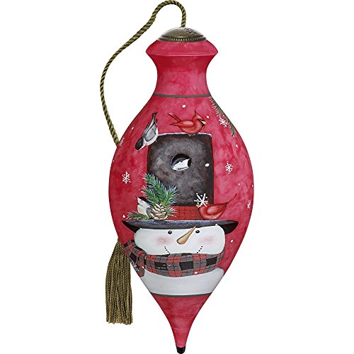 Precious Moments, Ne'Qwa Art 7171153 Hand Painted Blown Glass Standard Brilliand Shaped Home Is Where You Hang Your Hat Smiling Snowman Ornament, 6.5-inches