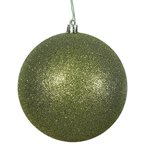 Vickerman N591014DG Glitter Ball Ornaments with Shatterproof UV Resistant, Pre-drilled cap Secured & 6″ of Green Floral Wire in 6 per bag, 4″, Olive