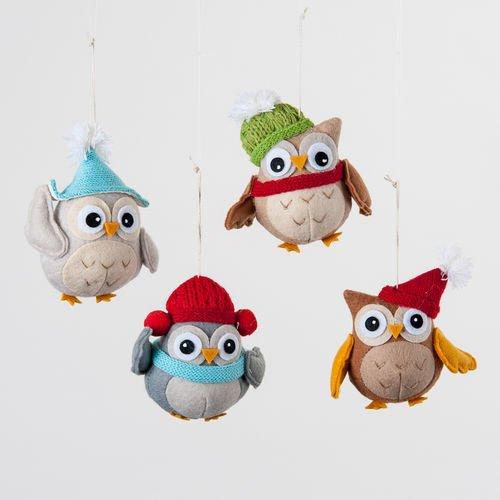Felt Owl Ornament Set of 4 By One Hundred 80 Degrees