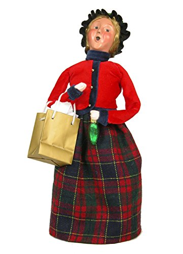 Byers Choice Woman with Shopping Bag and Glass Ornament