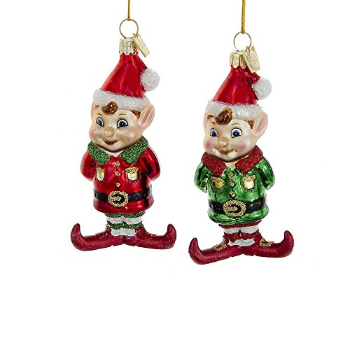 Kurt Adler YAMNB1101 3.75″ Noble Gems Glass Elf Ornament Set of 2