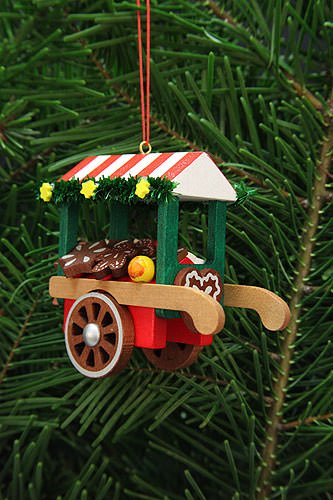Tree ornament market cart with ginger bread – 7,5cm / 3inch