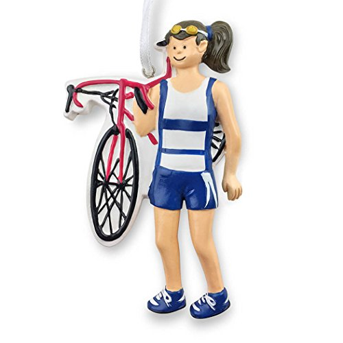 Triathlete Christmas Ornament | Triathlon Ornaments by Gone For a Run | Girl | Brunette