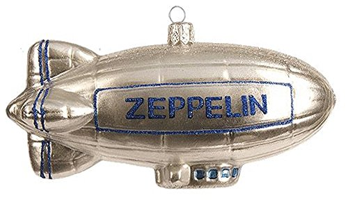 Silver Zeppelin Blimp Polish Glass Christmas Tree Ornament Decoration Poland