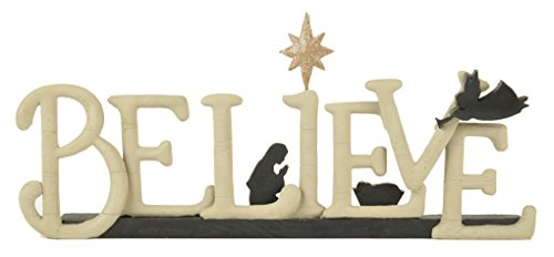 Believe Black Silhouette 5 x 10 inch Resin Stone Christmas Nativity Sign Figurine