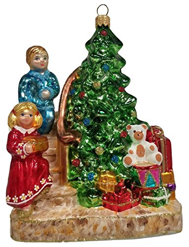 Children Coming Down the Stairs Christmas Morning Polish Glass Tree Ornament