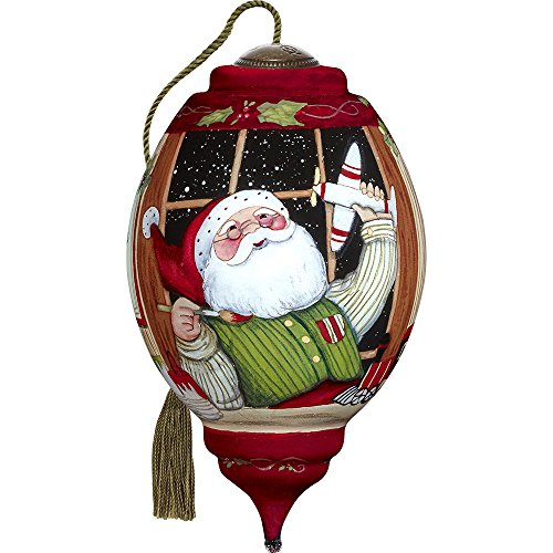 Precious Moments, Ne'Qwa Art 7171172 Hand Painted Blown Glass Standard Trillion Shaped Santa's Finishing Touches Ornament, 5.5-inches