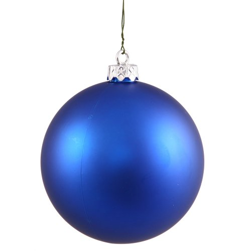 Vickerman Matte Finish Seamless Shatterproof Christmas Ball Ornament, UV Resistant with Drilled Cap, 4 per Bag, 4.75″, Blue
