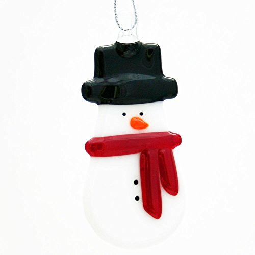 Glassworks Northwest – Snowman with the Black Top Hat and Red Scarf – Fused Glass Ornament
