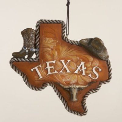 4.75″ Wild West State of Texas with Cowboy Boot and Hat Christmas Ornament