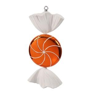 Vickerman 185″ Orange and White Swirl Candy Christmas Ornament