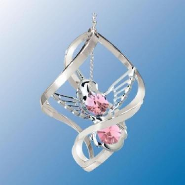 Chrome Plated Hummingbird Classic Spiral – Pink – Swarovski Crystal
