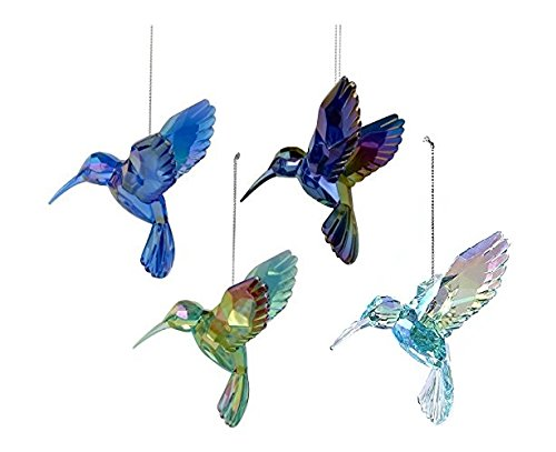 Kurt Adler Shiny Acrylic Hummingbird Ornaments, Set of 4 Assorted