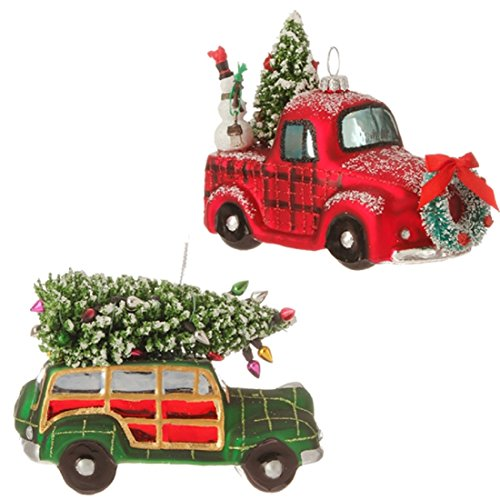 Set of 2 Assorted Raz Imports 4″ Vintage Style Automobile Ornaments