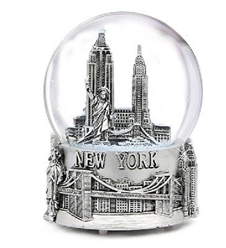 Musical Silver New York City Snow Globe with Sculpture Base, 6 Inch