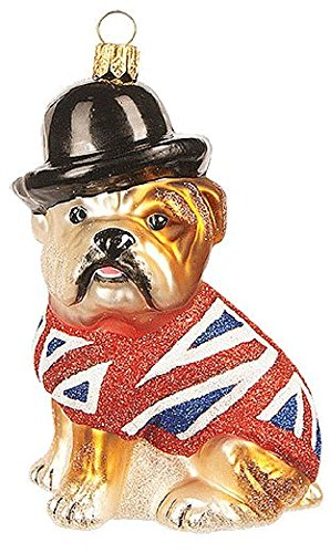 English Bulldog Polish Glass Christmas Tree Ornament Dog England Union Jack