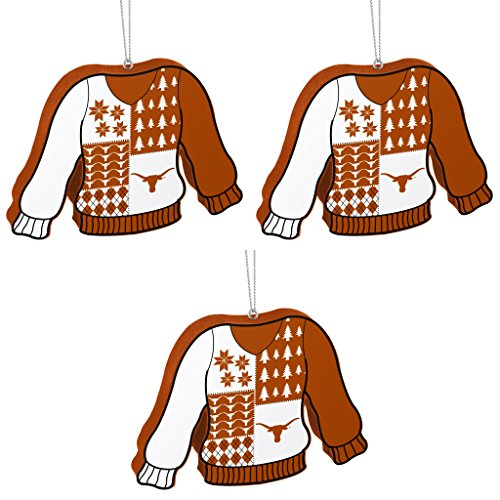 NCAA Texas Longhorns Foam Ugly Sweater Christmas Ornament Bundle 3 Pack By Forever Collectibles