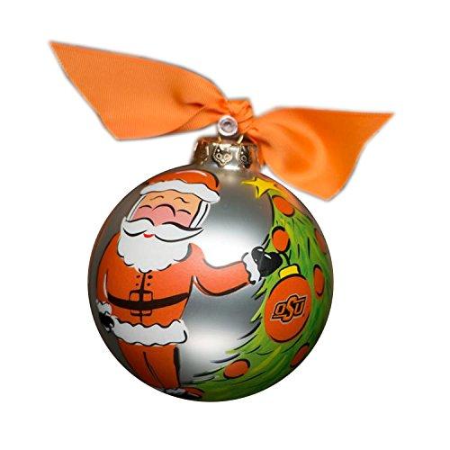 Glory Haus Oklahoma State Glass Santa Ornament, 4-Inch
