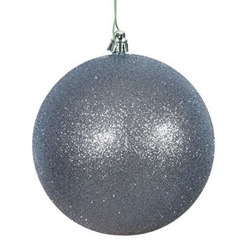 Vickerman N591527DG Glitter Ball Ornaments with Shatterproof UV Resistant, Pre-drilled cap Secured & green floral Wire in 4 per bag, 6″, Pewter
