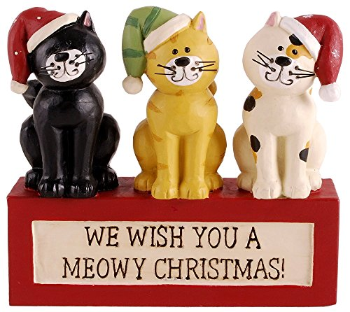 "Blossom Bucket Three Cats in Warm Hats on Block ""MEOWY CHRISTMAS"" Resin Figurine"