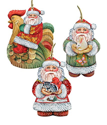 Designocracy 8100008S3 Cournty Santa Ornaments (Set of 3)