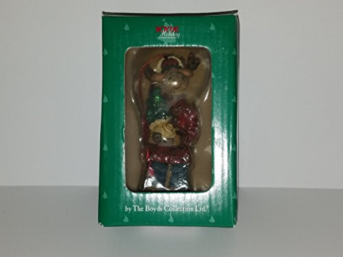Boyds Bear Resin Ornament Chrismoose Moose with Tree