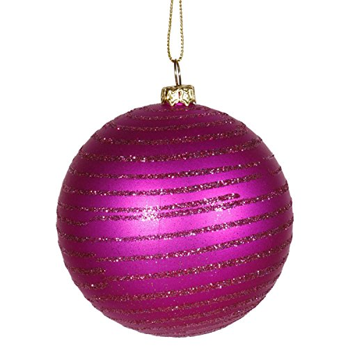 Vickerman Cerise Pink Glitter Striped Shatterproof Christmas Ball Ornament 3″ (75mm)