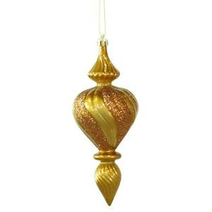 Vickerman 7″ Antique Gold Candy Finish Finial Christmas Ornament, 3 per Box