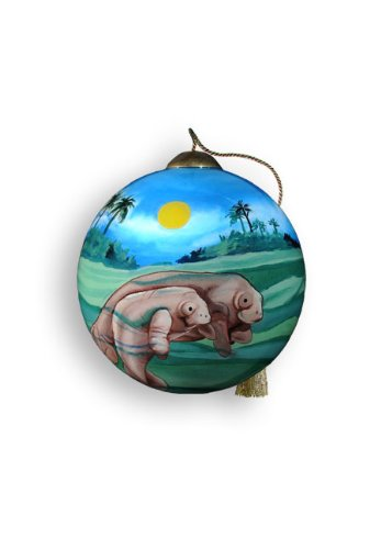 Ne'Qwa Art Manatees – Glass Ornament Hand-Painted 564-NEQ