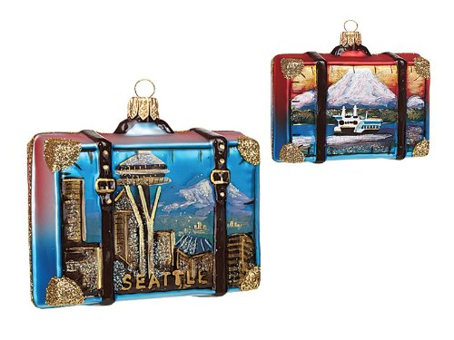 Seattle Travel Suitcase Polish Glass Christmas Ornament Space Needle Decoration