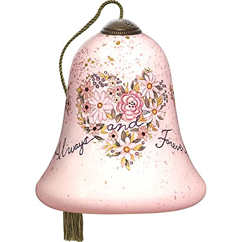 Precious Moments, Ne'Qwa Art 7171138 Hand Painted Blown Glass Petite Bell Shaped Always and Forever Heart-Shaped Floral Bouquet Ornament, 3-inches