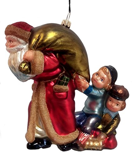 What Do You Have For Me Children with Santa Polish Glass Ornament Decoration