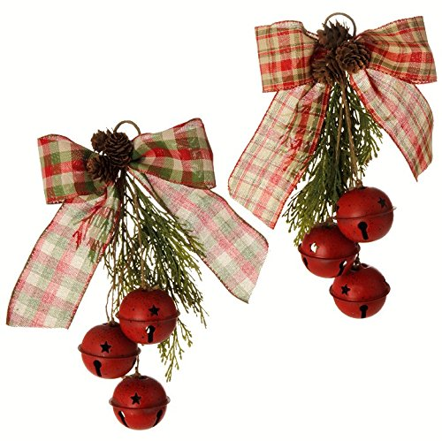 RAZ Red Christmas Bell Ornaments 11″ w/Plaid Bows & Pine Cones Set of 2