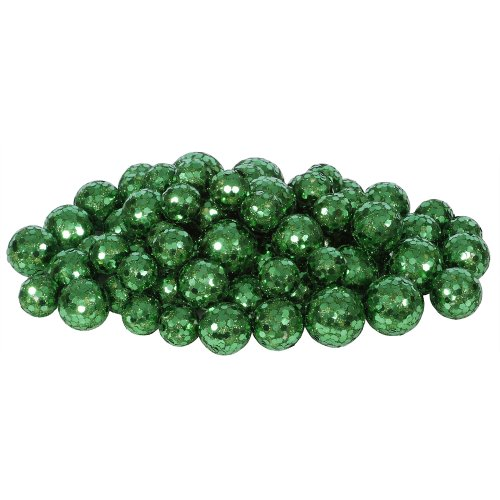Vickerman 72ct Emerald Green Sequin and Glitter Christmas Ball Decorations 0.8″ – 1.25″