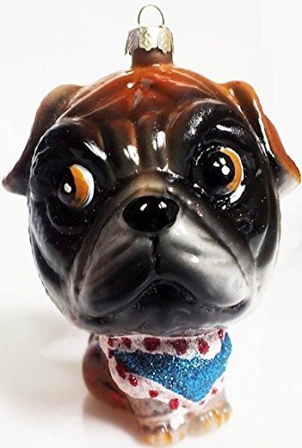 Puggle in Sweater & Cap Christmas Ornament