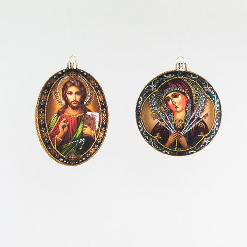 Madonna Medallion Ornament set of 2